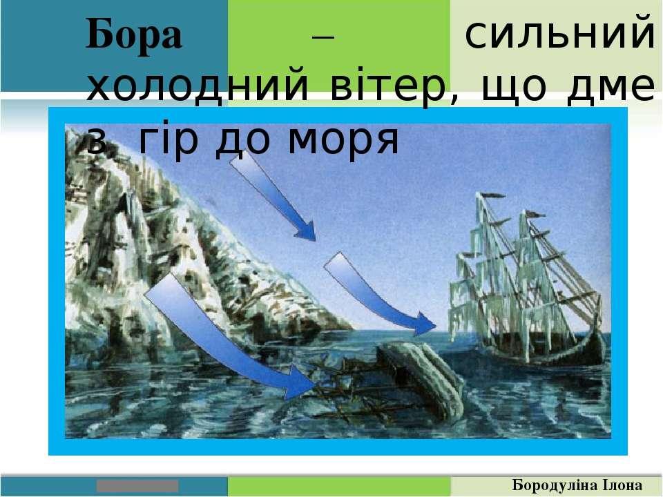 Бора – сильний холодний вітер, що дме з гір до моря Бородуліна Ілона