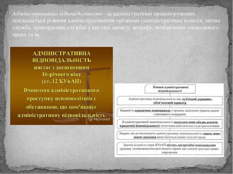Адміністративна відповідальність- за адміністративні правопорушення, поклада...