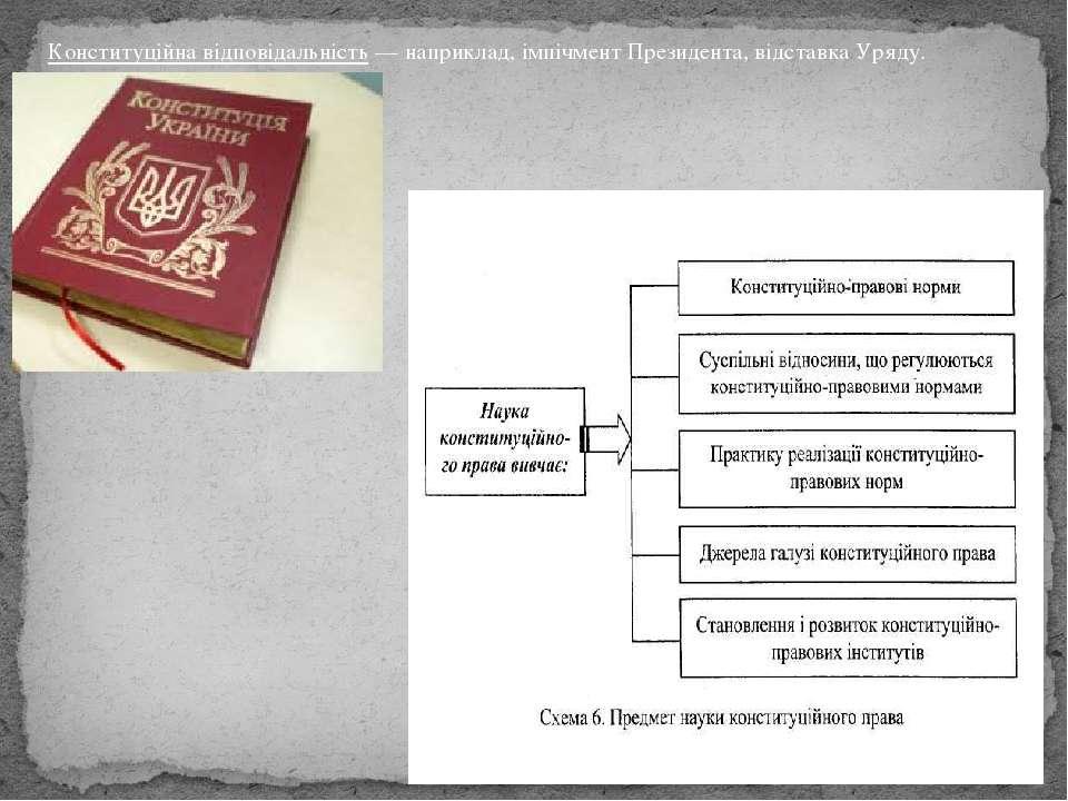 Конституційна відповідальність— наприклад,імпічмент Президента,відставкаУ...