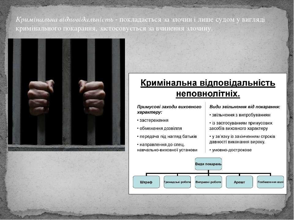 Кримінальна відповідальність- покладається за злочин і лише судом у вигляді ...