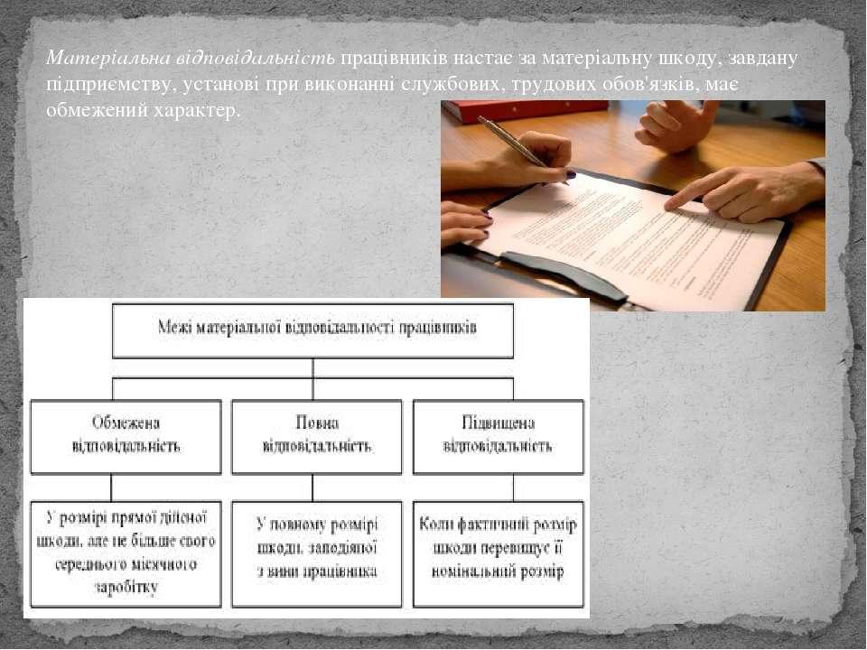 Матеріальна відповідальністьпрацівників настає за матеріальну шкоду, завдану...