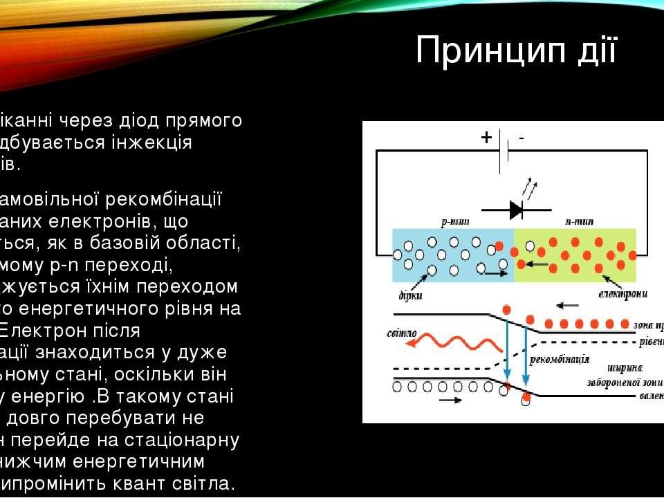 Принцип дії При протіканні через діод прямого струму відбувається інжекція ел...