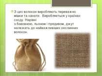 З цих волокон виробляють переважно мішки та канати. Виробляється у країнах с...