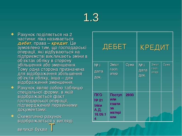 1.3 Рахунок поділяється на 2 частини: ліва називається дебет, права – кредит....