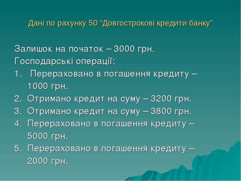 """Дані по рахунку 50 """"Довгострокові кредити банку"""" Залишок на початок – 3000 гр..."""