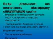 Види діяльності, що визначають міжнародну спеціалізацію країни Первинний сект...