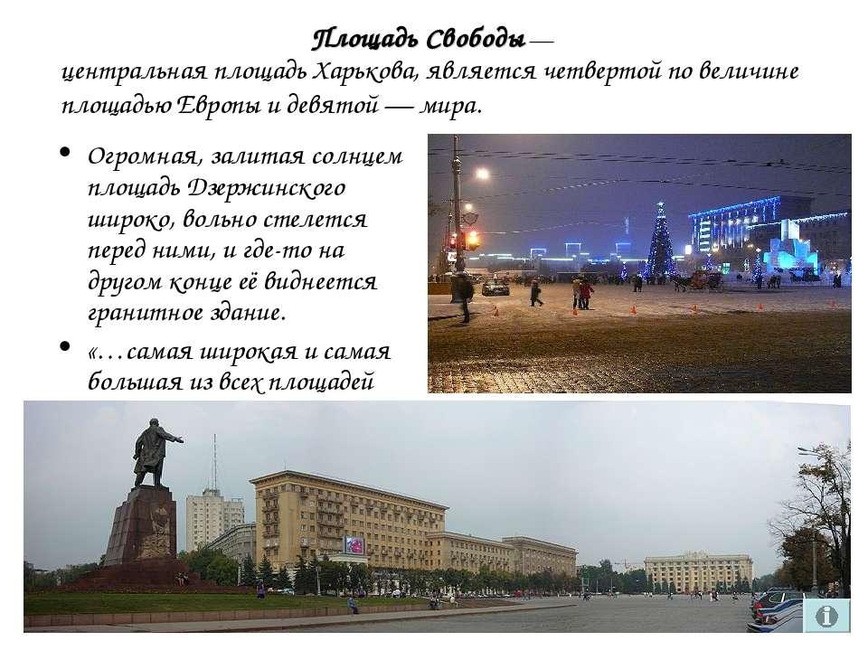 Площадь Свободы— Огромная, залитая солнцем площадь Дзержинского широко, воль...