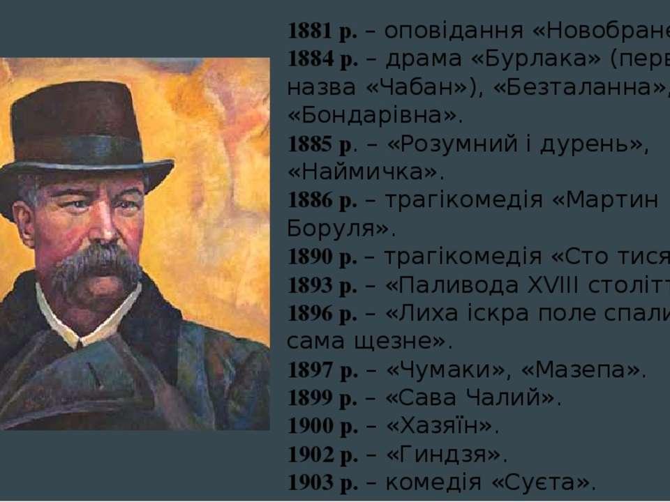 1881 р. – оповідання «Новобранець». 1884 р. – драма «Бурлака» (первісна назва...