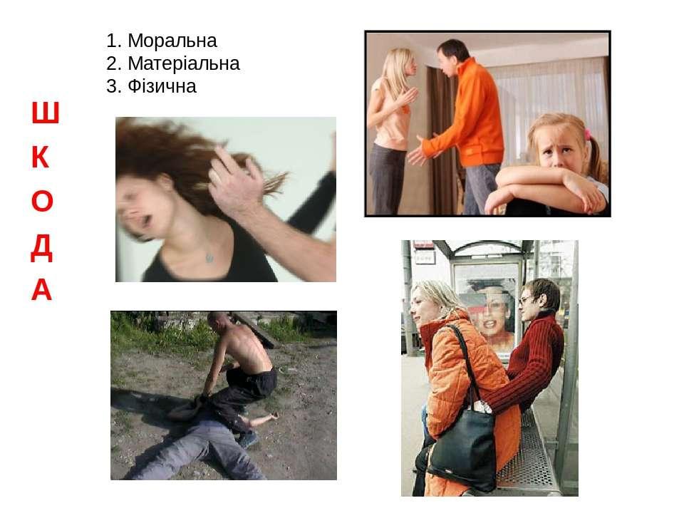 1. Моральна 2. Матеріальна 3. Фізична Ш К О Д А