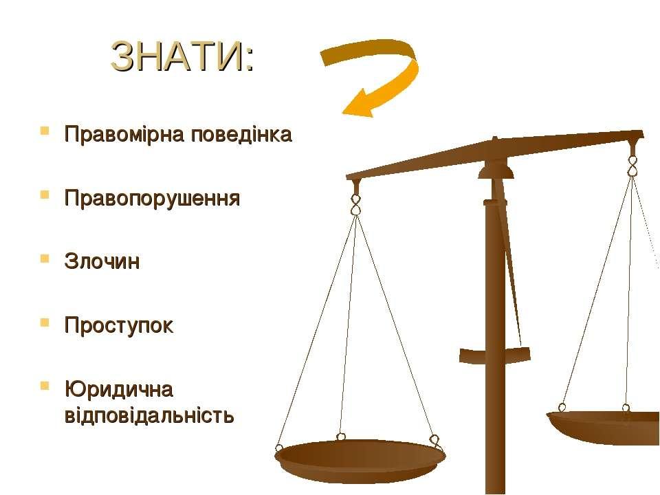 ЗНАТИ: Правомірна поведінка Правопорушення Злочин Проступок Юридична відповід...