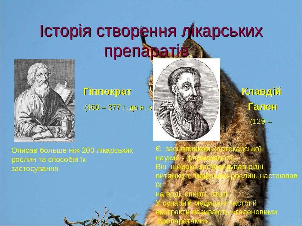 Історія створення лікарських препаратів : Гіппократ Клавдій ( (460 – 377 г. д...