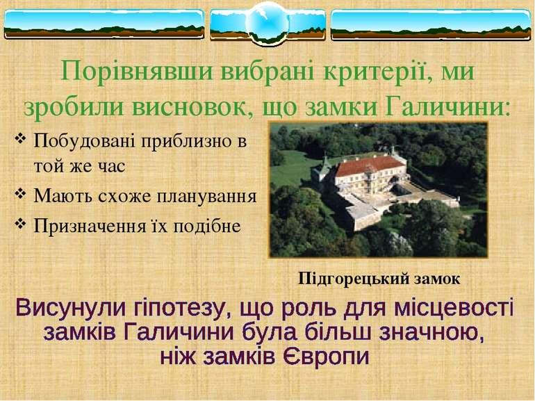 Порівнявши вибрані критерії, ми зробили висновок, що замки Галичини: Побудова...