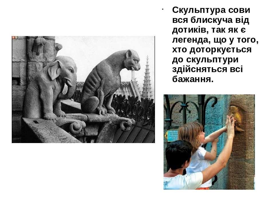 Скульптура сови вся блискуча від дотиків, так як є легенда, що у того, хто до...