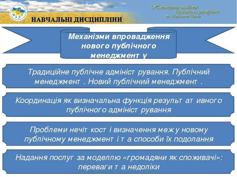 Механізми впровадження нового публічного менеджменту Традиційне публічне адмі...
