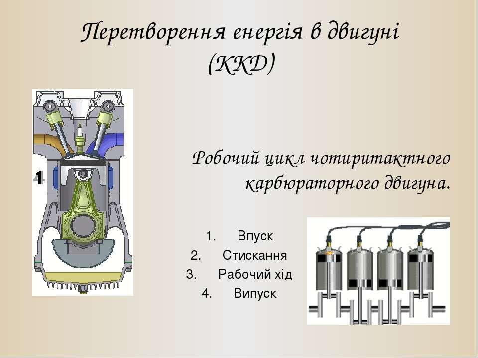 Перетворення енергія в двигуні (ККД) Робочий цикл чотиритактного карбюраторно...