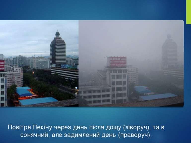 Повітря Пекіну через день після дощу (ліворуч), та в сонячний, але задимлений...