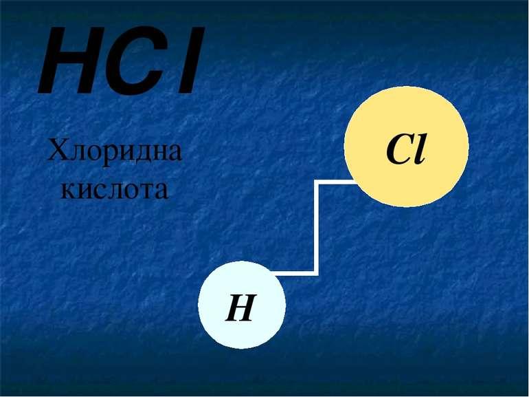 HСl Хлоридна кислота Сl Н Позначимо схематично зв'язок між атомами. Хлоридна ...