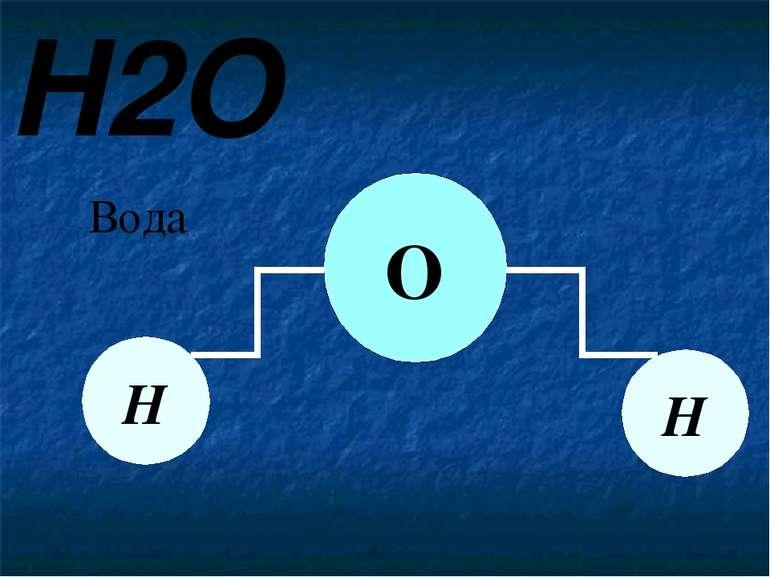 H2O Вода Н Н О Вода складається з двох атомів Гідрогену та одного атому Оксиг...