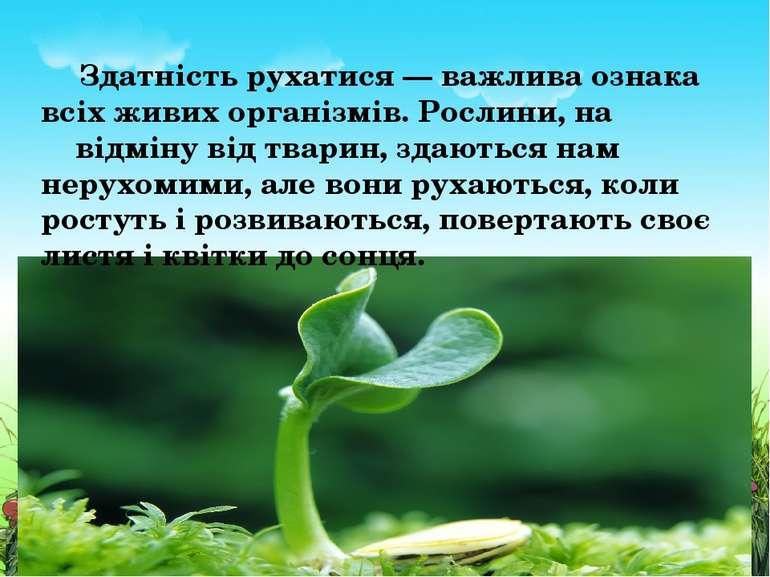 Здатність рухатися — важлива ознака всіх живих організмів. Рослини, на відмін...