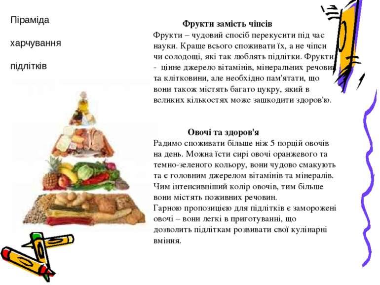Піраміда харчування підлітків Фрукти замість чіпсів Фрукти – чудовий спосіб п...