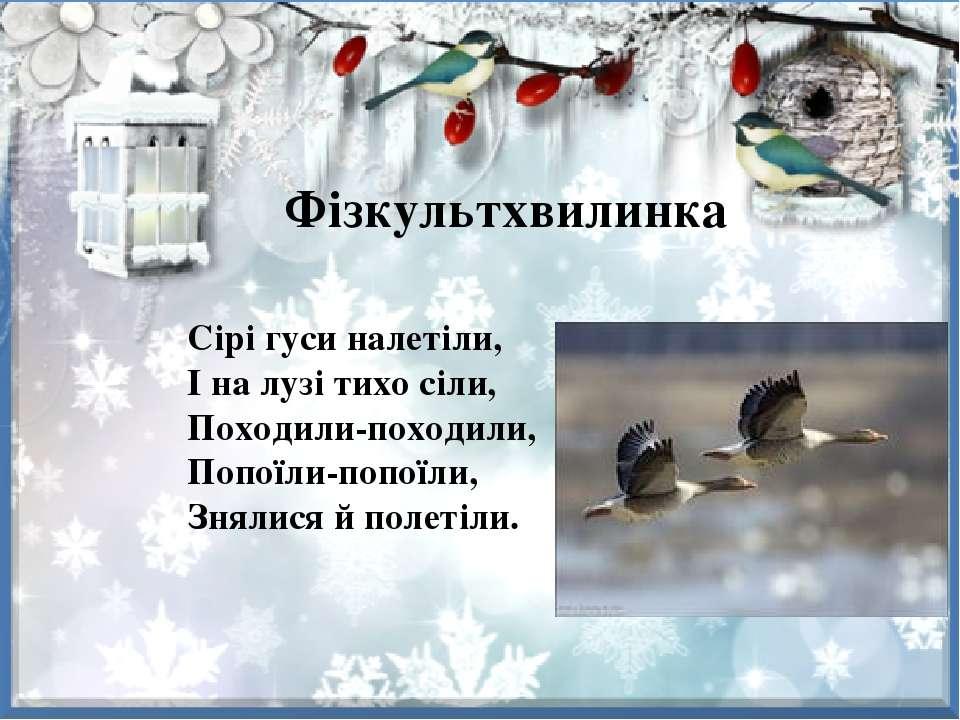 Фізкультхвилинка Сірі гуси налетіли, І на лузі тихо сіли, Походили-походили, ...
