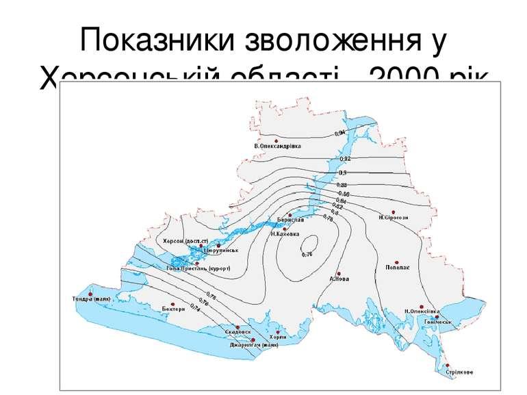 Показники зволоження у Херсонській області -2000 рік