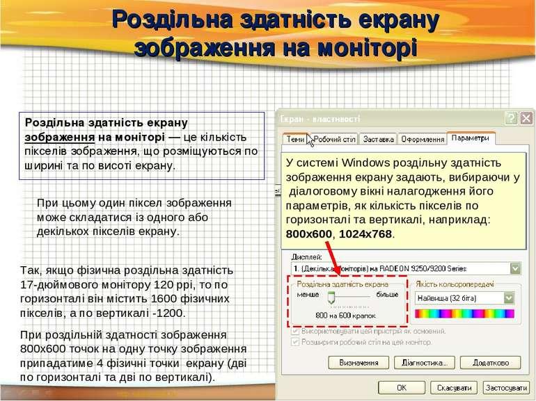 Роздільна здатність екрану зображення на моніторі Роздільна здатність екрану ...
