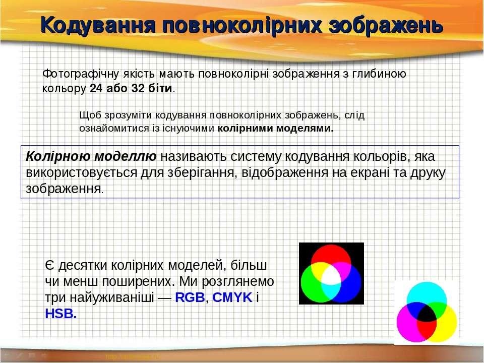 Кодування повноколірних зображень Фотографічну якість мають повноколірні зобр...