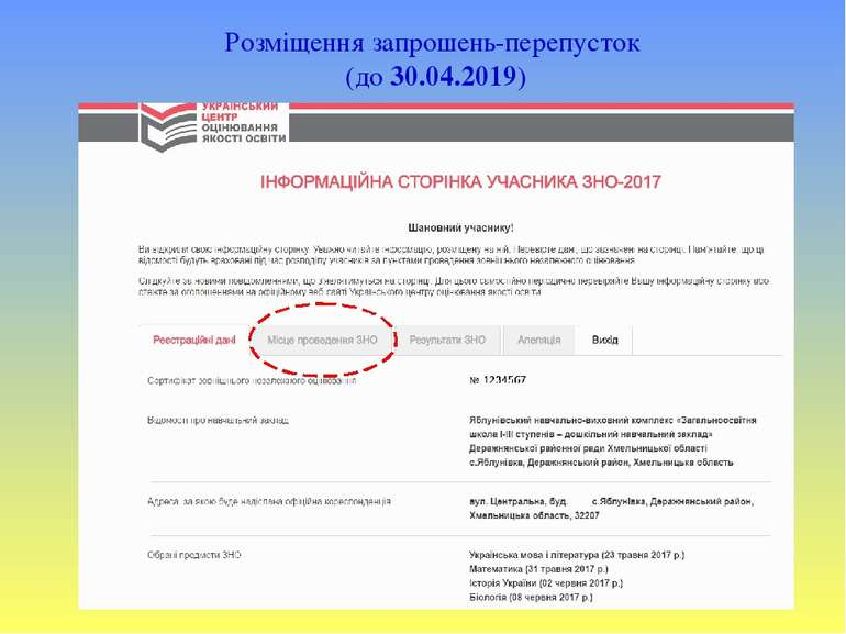 Розміщення запрошень-перепусток (до 30.04.2019)