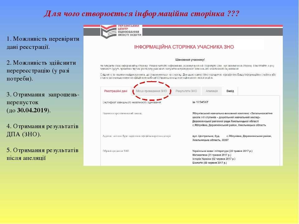 1. Можливість перевірити дані реєстрації. 2. Можливість здійснити перереєстра...