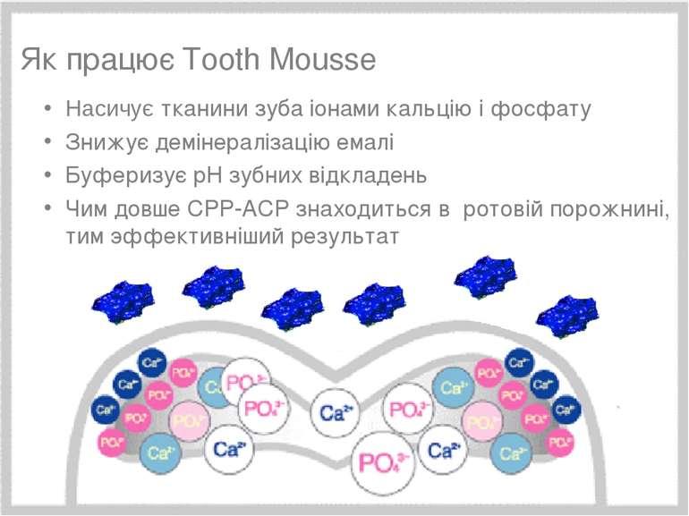 Минимальное вмешательство, 15/05/2006 * Як працює Tooth Mousse Насичує тканин...