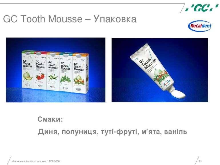Минимальное вмешательство, 15/05/2006 * GC Tooth Mousse – Упаковка Смаки: Дин...