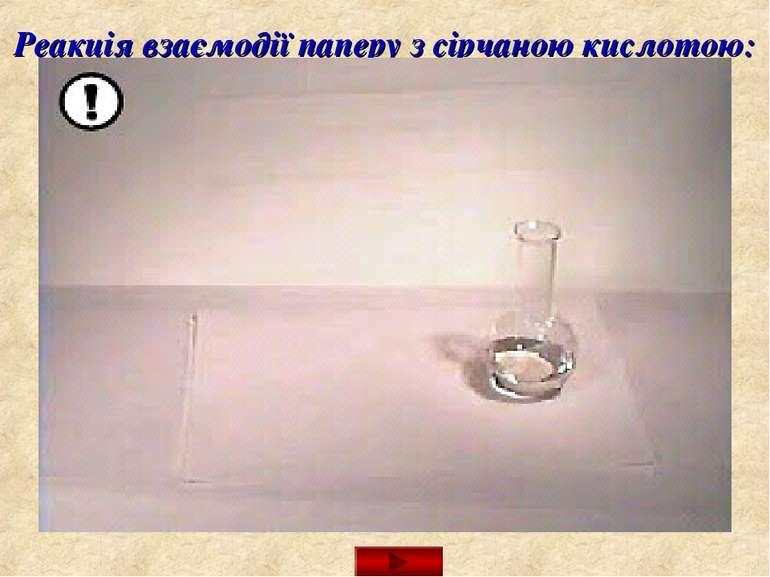 Реакція взаємодії паперу з сірчаною кислотою:
