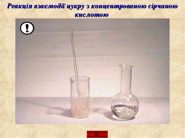Реакція взаємодії цукру з концентрованою сірчаною кислотою