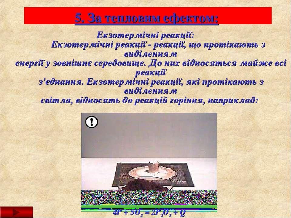 5. За тепловим ефектом: Екзотермічні реакції: Екзотермічні реакції - ре...