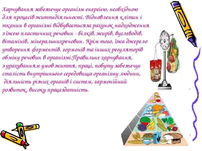 Харчування забезпечує організм енергією, необхідною для процесів життєдіяльно...