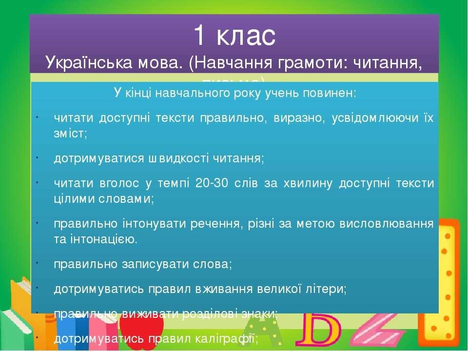 1 клас Українська мова. (Навчання грамоти: читання, письмо) У кінці навчально...