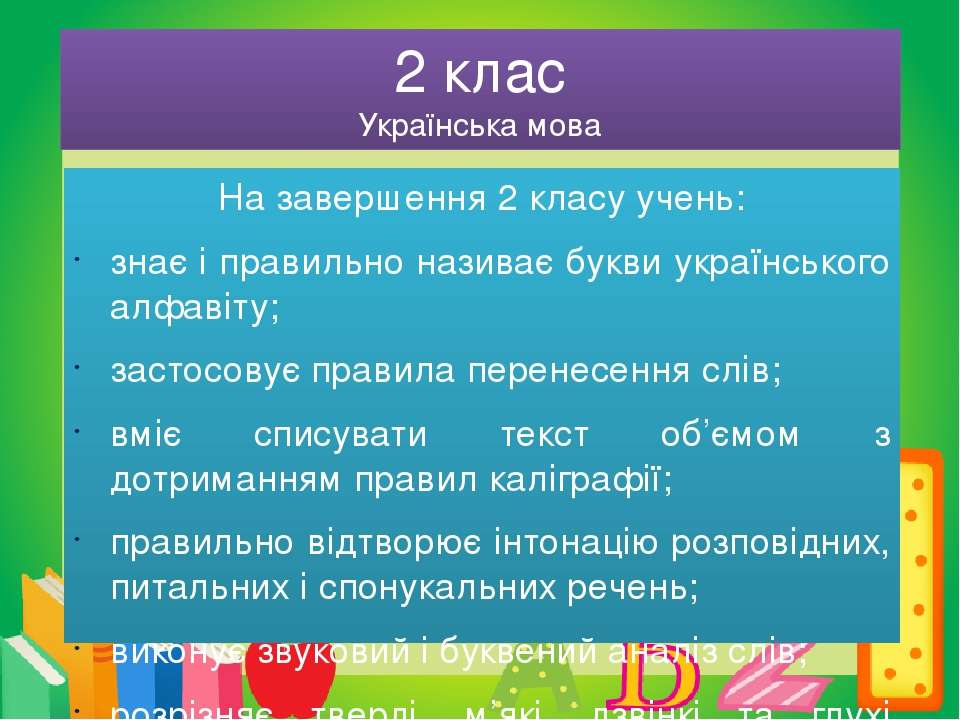 2 клас Українська мова На завершення 2 класу учень: знає і правильно називає ...