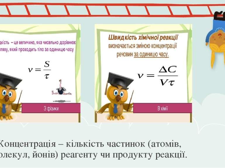 Концентрація – кількість частинок (атомів, молекул, йонів) реагенту чи продук...