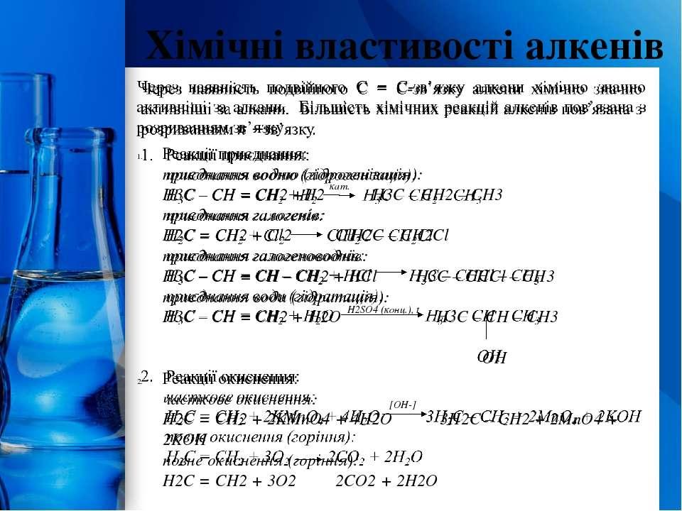 Хімічні властивості алкенів кат. H2SO4 (конц.), t [OH-] ProPowerPoint.Ru