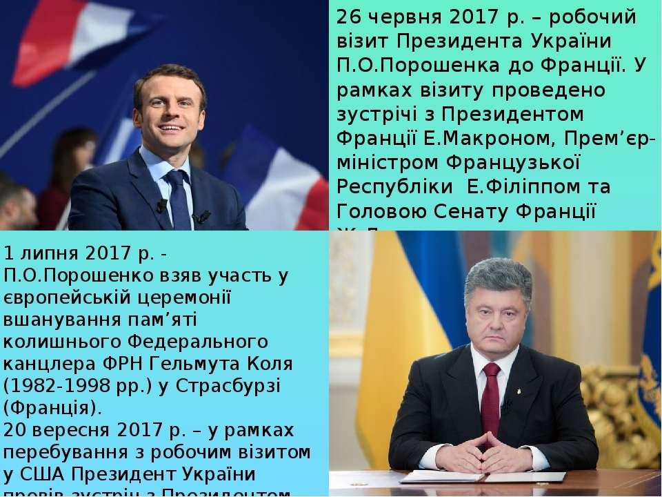 26 червня 2017 р. – робочий візит Президента України П.О.Порошенка до Франції...