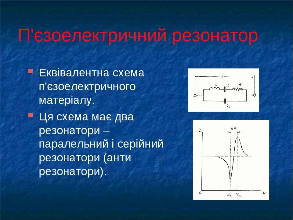 П'єзоелектричний резонатор Еквівалентна схема п'єзоелектричного матеріалу. Ця...