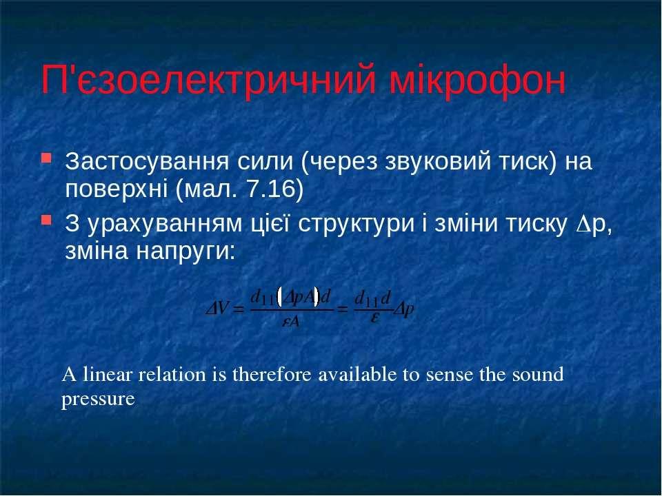 П'єзоелектричний мікрофон Застосування сили (через звуковий тиск) на поверхні...