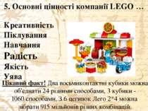5. Основні цінності компанії LEGO … Цікавий факт! Двавосьмиконтактнікубики...