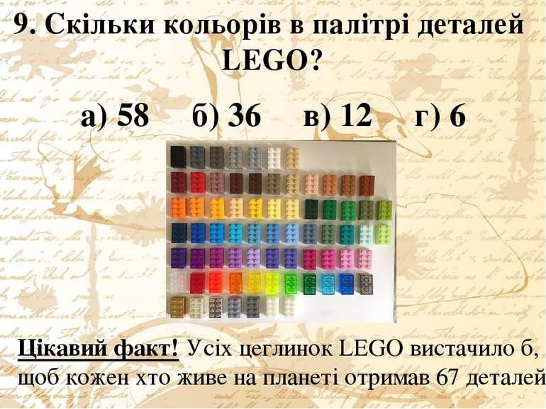 9. Скільки кольорів в палітрі деталей LEGO? а) 58 б) 36 в) 12 г) 6 Цікавий фа...