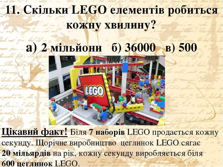 11. Скільки LEGO елементів робиться кожну хвилину? а) 2 мільйони б) 36000 в) ...