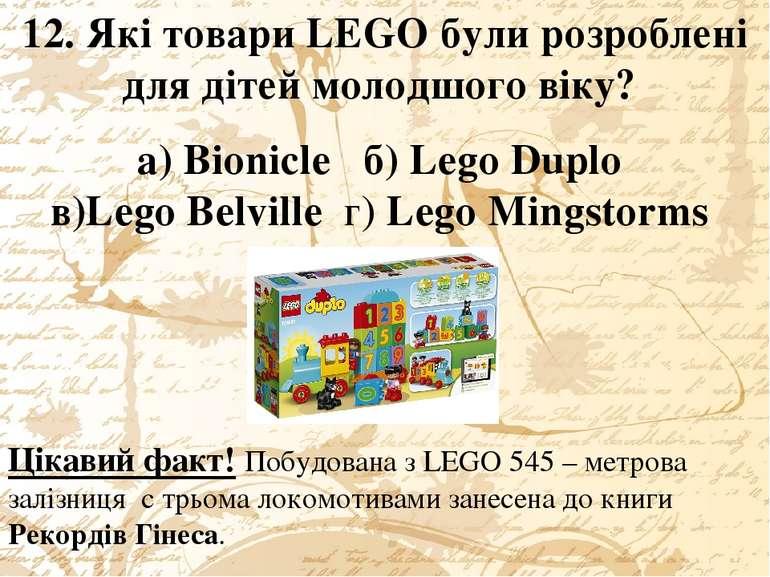 12. Які товари LEGO були розроблені для дітей молодшого віку? а) Bionicle б) ...