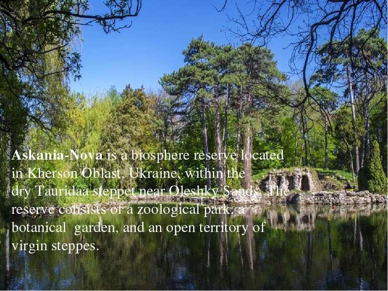 Askania-Novais abiosphere reserve located inKherson Oblast,Ukraine, withi...