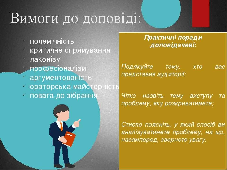 Вимоги до доповіді: Практичні поради доповідачеві: Подякуйте тому, хто вас пр...