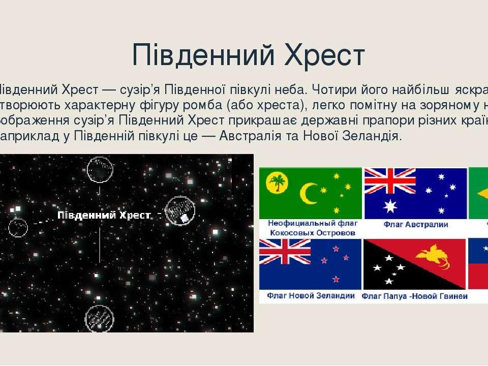Південний Хрест Південний Хрест — сузір'я Південної півкулі неба. Чотири його...